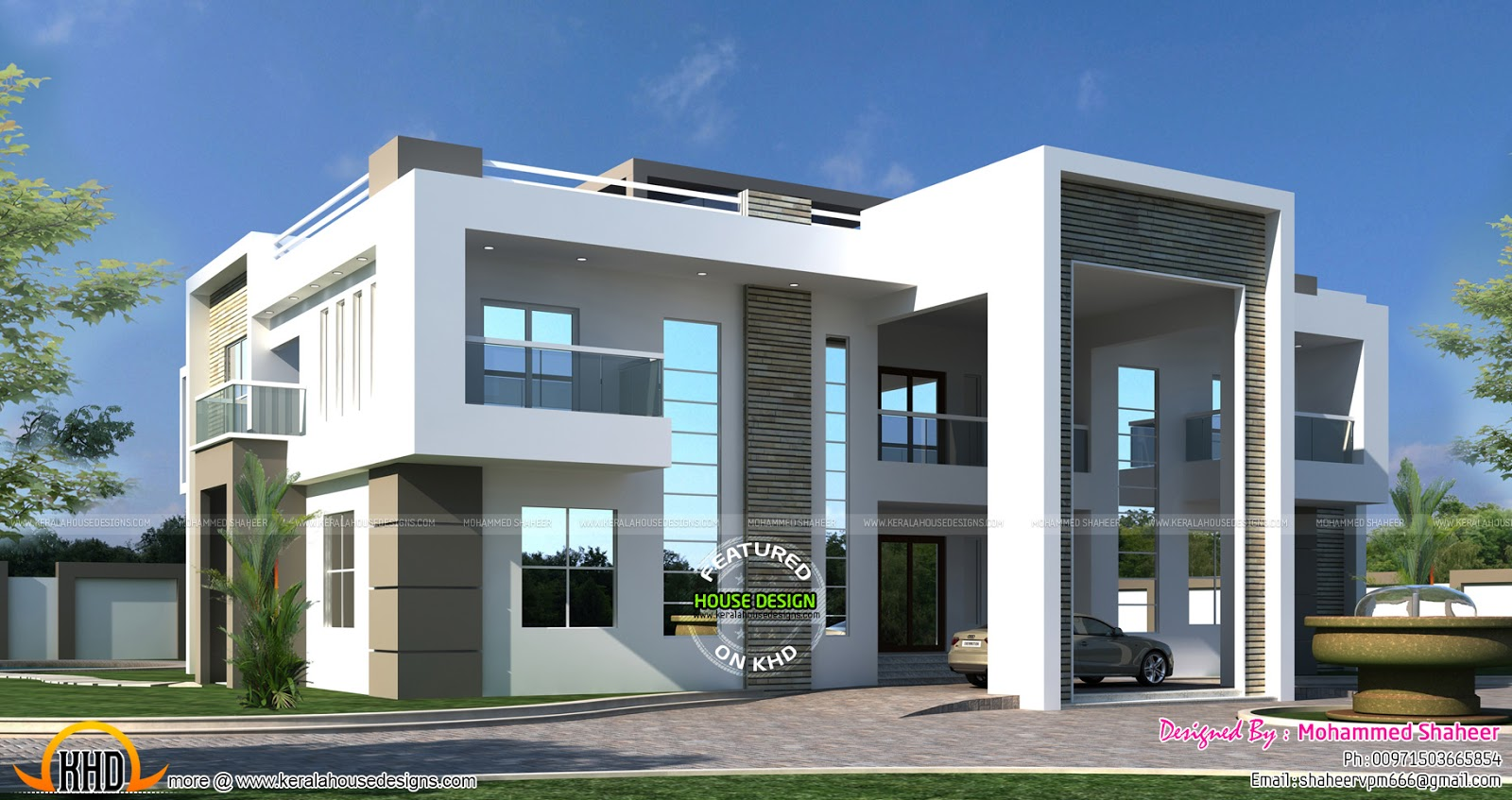 Flat roof arabian house plan kerala home design and for Executive house plans