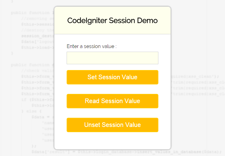 login and registration form in php using session in codeigniter