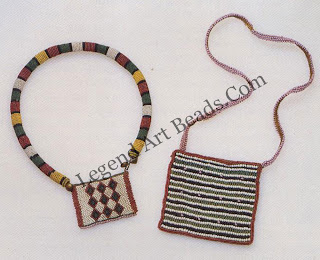 """On the left is u beaded collar to which is attached a small patterned panel, known as a """"love letter"""" Zulu girls convey to their suitors, and wives to their husbands, feelings of courtship, love, hope, yearning, and sadness through the choice of colors and patterns woven into these fiat beadwork panels. Blue may represent gossip, thought, or sky; red can symbolize """"eyes red with weeping """"from """"seeking one's lover in vain,"""" or can symbolize blood or fire; yellow can be for riches or poverty; white always means love and purity Juxtaposed colors take on special meanings: a pink and white panel might say: """"You are poor . . . but I love you.""""Such messages are part of the private dialogue in a couple's relationship and are rarely understood by outsiders."""" On the right is a bead-work bag similar to those worn by young unmarried Zulu men in the early twentieth century, the time when Zulu men began wearing beads."""