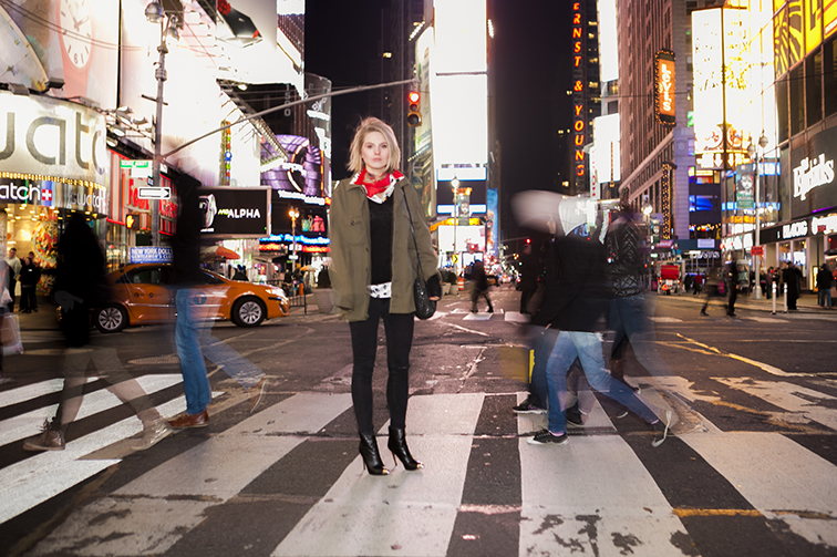 City streets at nighttime, Times Square cross walk, bright lights big city, New York, big apple, concrete jungle, effortless chic, off duty, stilettos, skinny jeans