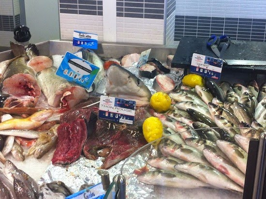 A range of fish for sale at the fish market in Port Vendres