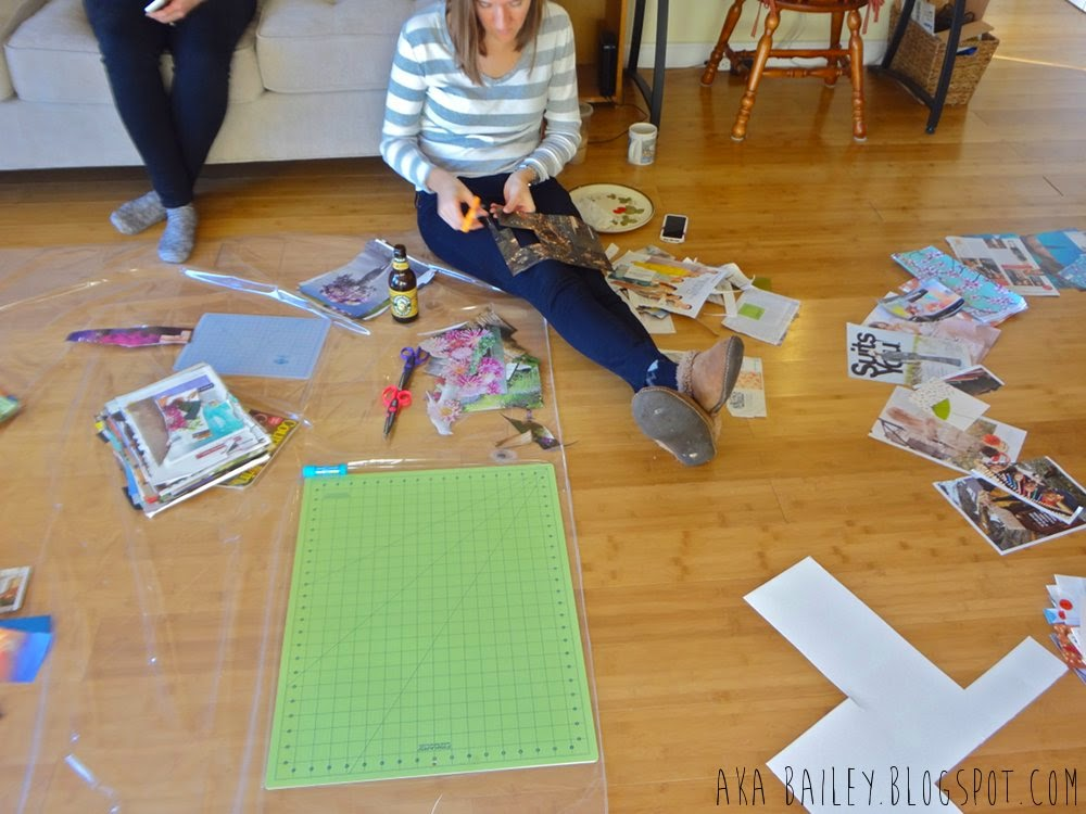 Craft Club: Cutting magazine pages for her collage