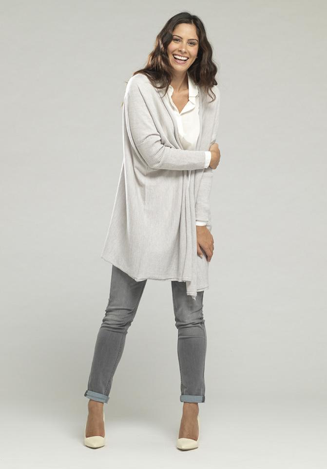 Rachel Wears Long Merino Wool Drape Cardigan