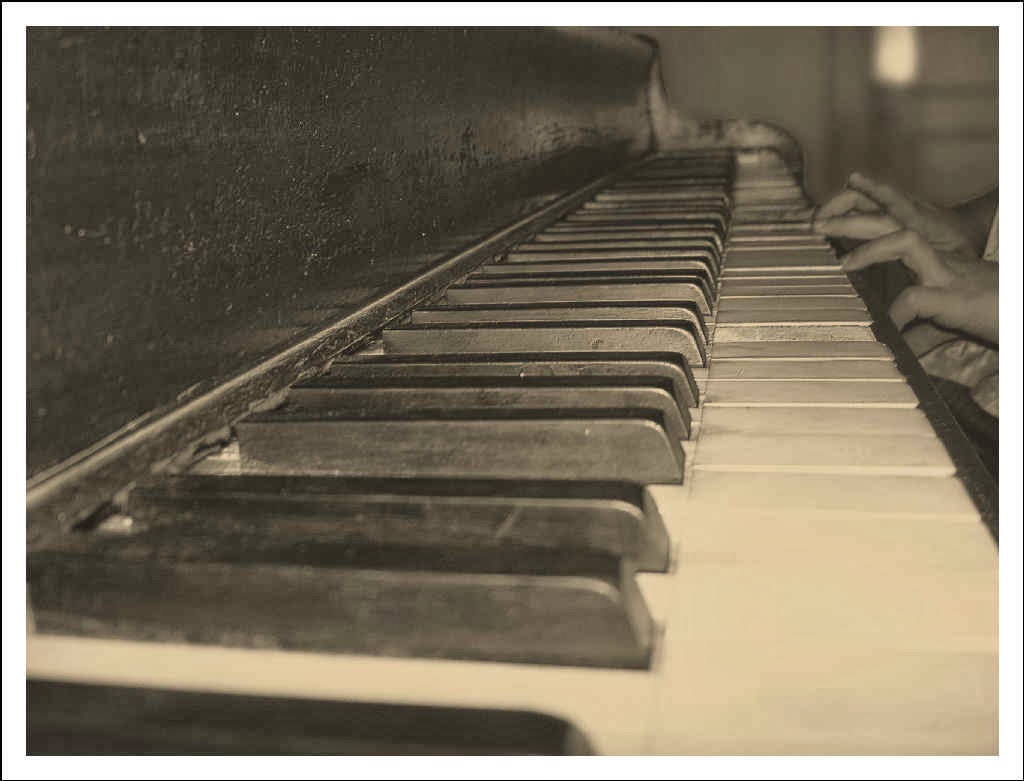 Sepia toned piano keyboard