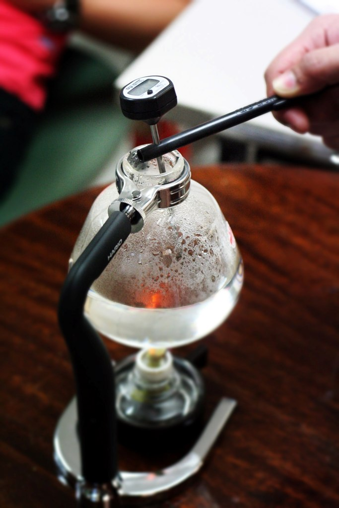 Siphon Vac Pot Brewing Checking Temperature