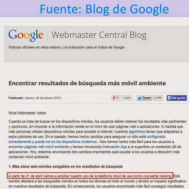 Cambio Google algoritmo mobile