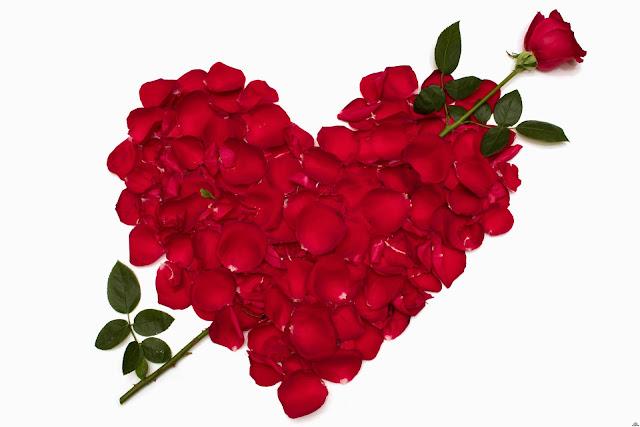 Corazón con Pétalos del Rosas Rojas San Valentin