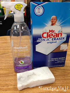 Mr. Clean erasers remove glue from students' desks easily.