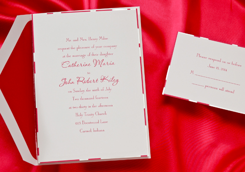 border designs for wedding cards. This bright white card has a