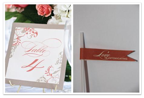 wedding reception table number flourish blush gray