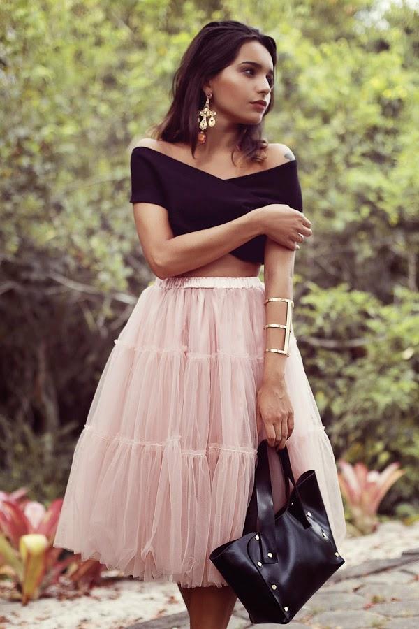 saia de tule com cropped, moda feminina