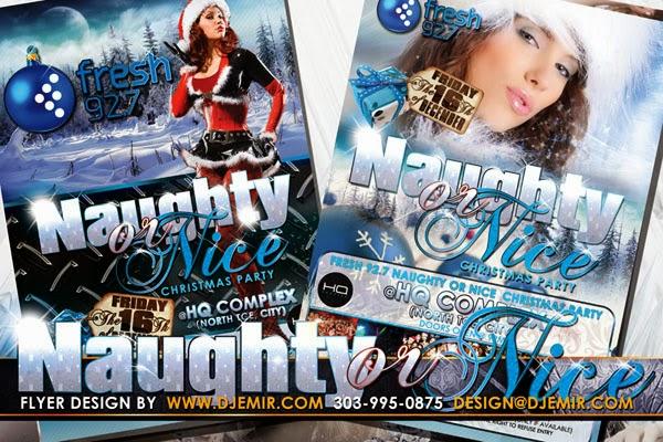 Naughty Or Nice Sexy Santa Christmas Party Flyer Design Australia