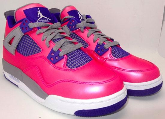 Kid's Nike Girls Air Jordan 4 IV Retro (GS) Pink Foil Electric Purple Sneakers : B71k3270