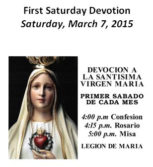 First Saturday Devotion