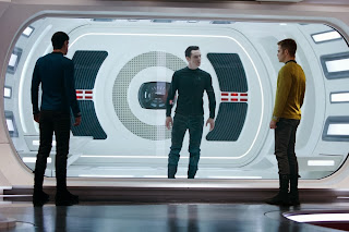 Benedict Cumberbatch as Khan, Chris Pine as Kirk, Zachary Quinto as Spock in Star Trek Into Darkness, Directed by J. J. Abrams
