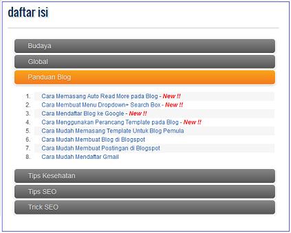 Cara Memasang Daftar Isi Otomatis Pada Blog