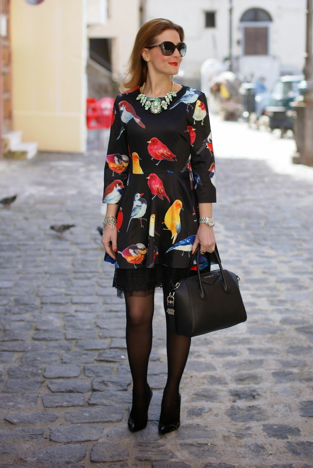 sheinside birds print dress, Molly Bracken sundress, Givenchy Antigona bag, Fashion and Cookies, fashion blogger