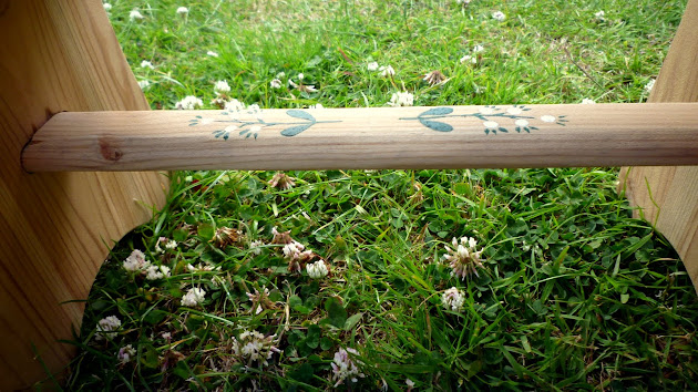 Handmade Handpainted Wooden Stool DIY Folklore