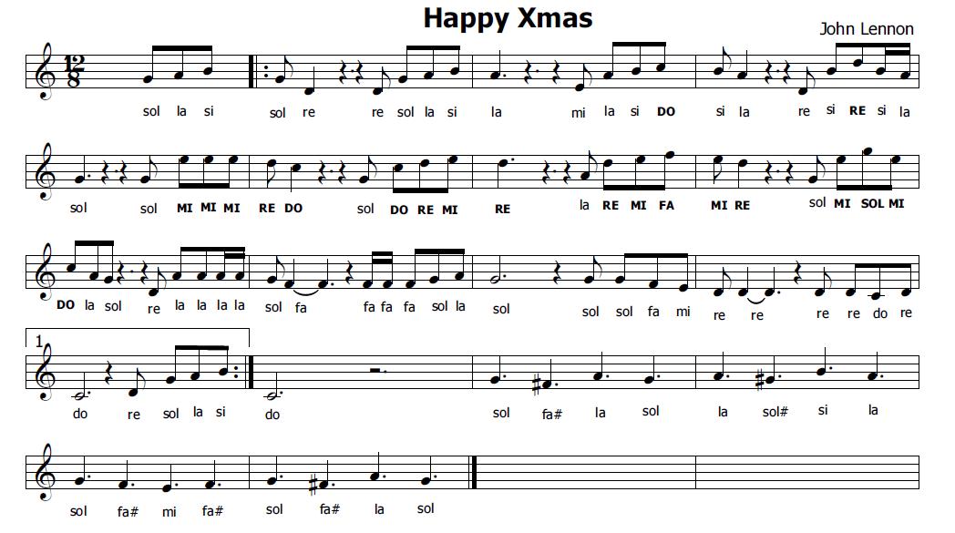 Musica e spartiti gratis per flauto dolce: Happy Xmas di John Lennon