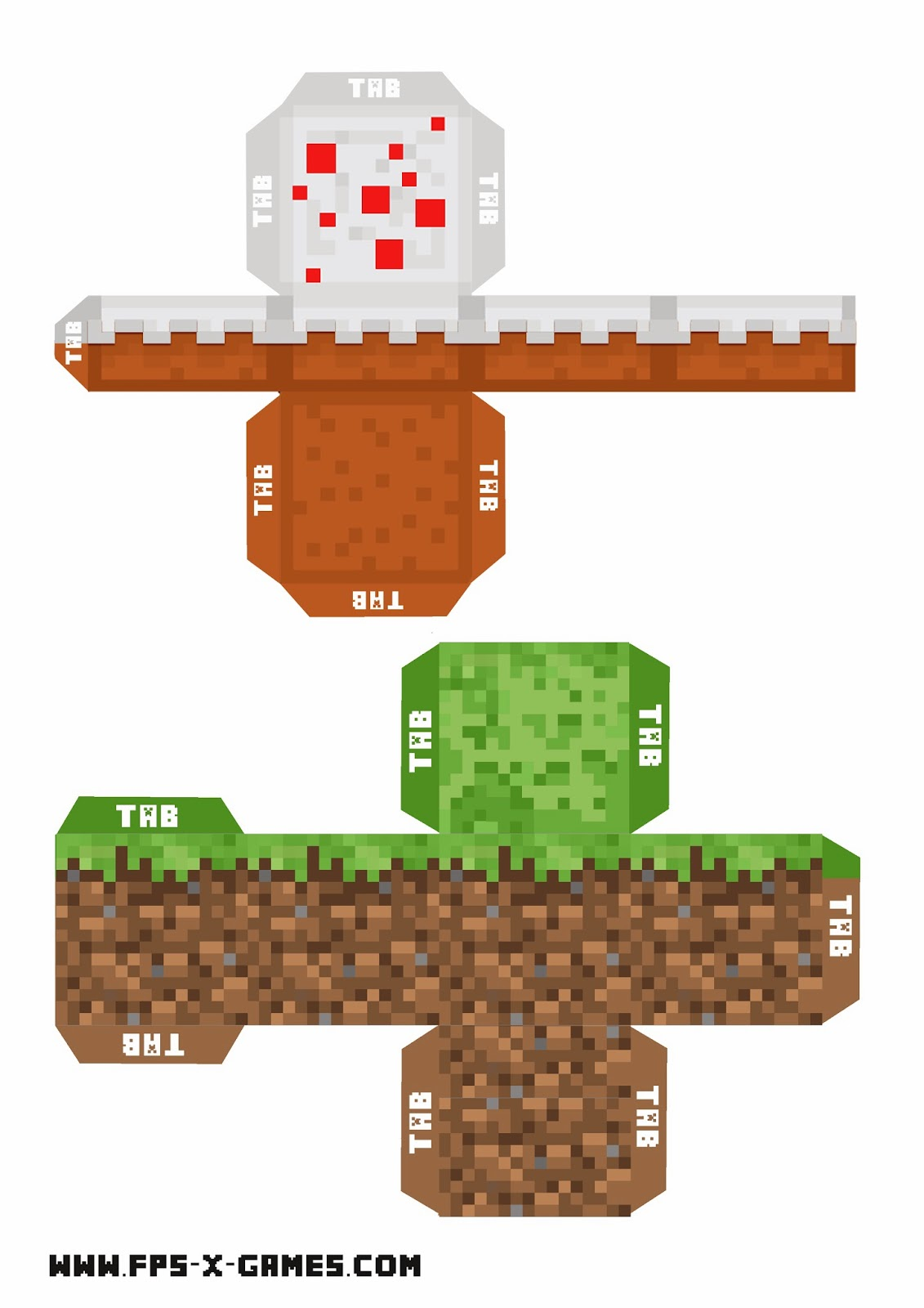 Minecraft printable grass and cake block for Minecraft cut out templates