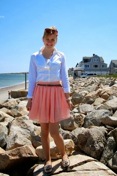 White Shirt And Flowy Pink Skirt