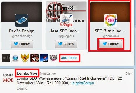 klik tombol-tombol follow atau buka nama akun