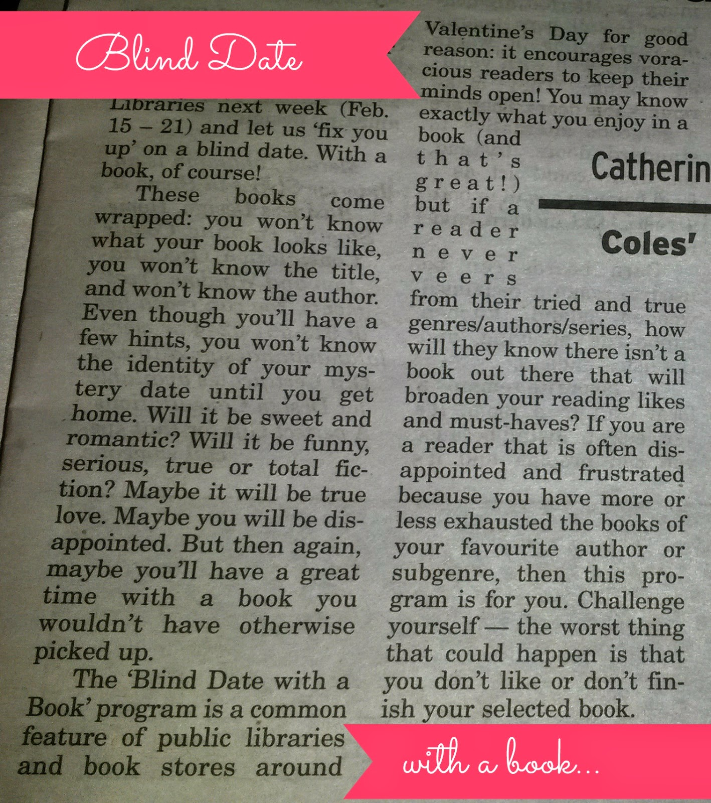 Blind Date With a Book Article - from Napanee Beaver