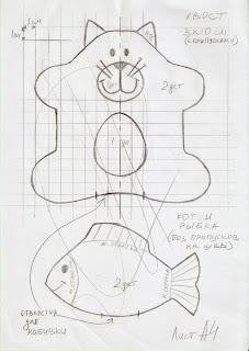 Кот и рыбка из джинса - выкройка