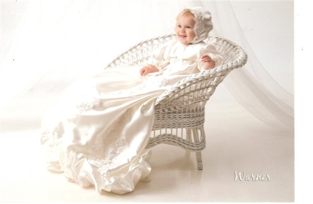 grandmother's wedding dress, christening dress, booties, bonnet
