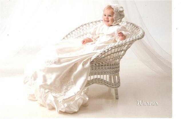 grandmother's wedding dress, christening dress, booties, bonnet