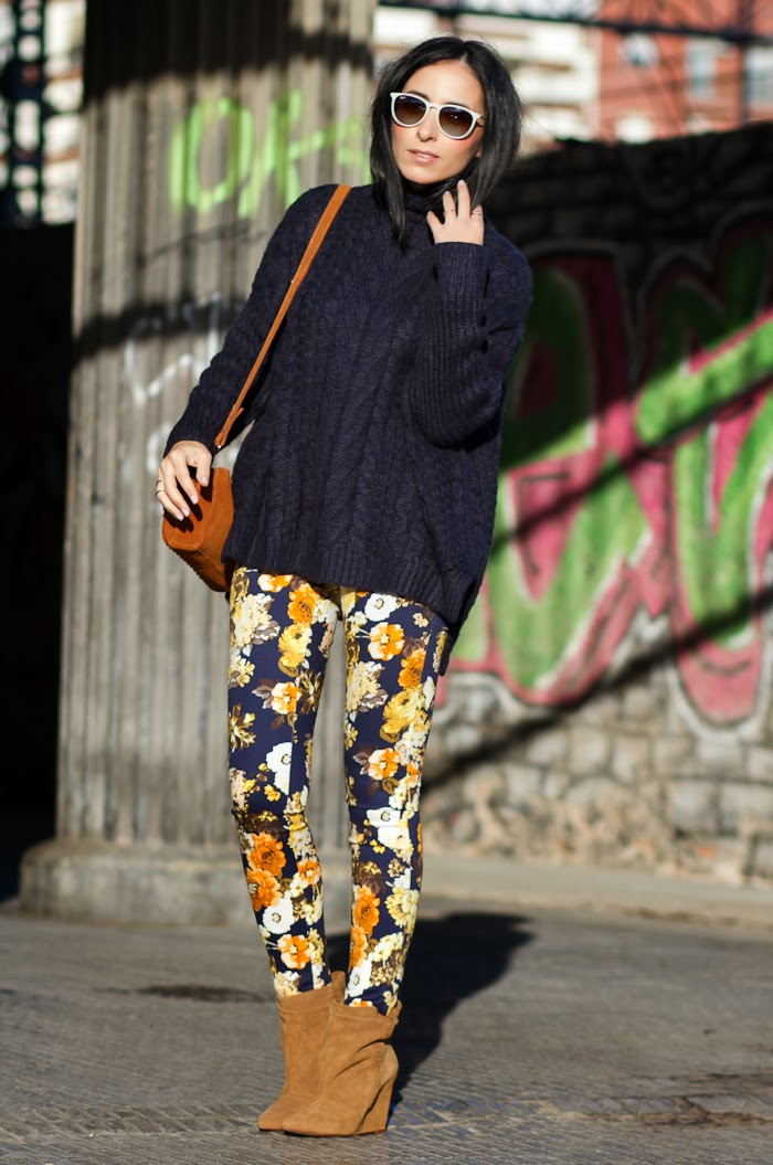Streetstyle Knitted Jumper with Floral Pants and Isabel Marant Style Boots
