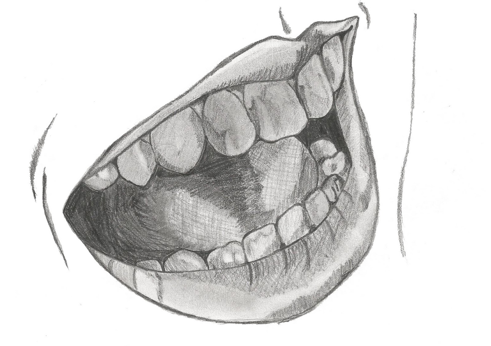 how to draw a laughing mouth