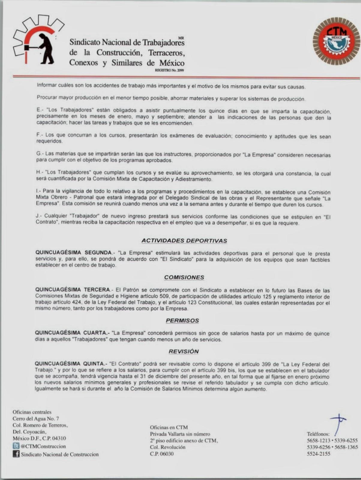 Sindicatos de Construcción: CONTRATO COLECTIVO DE TRABAJO -CPG, NUEVO ...