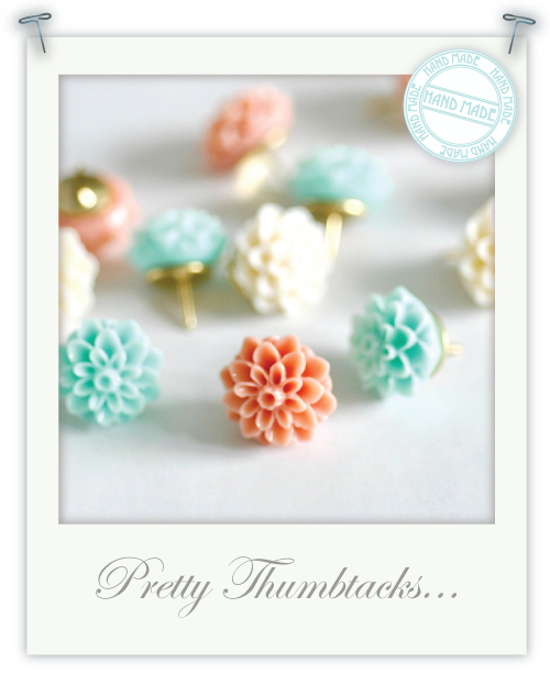 Pretty thumbtacks by Torie Jayne
