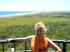 I'm atop Cape Hatteras Light--the Cape is the point out there.  It's really windy & I'm hanging on!
