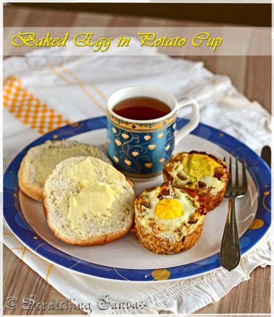 baked egg in potato cup breakfast