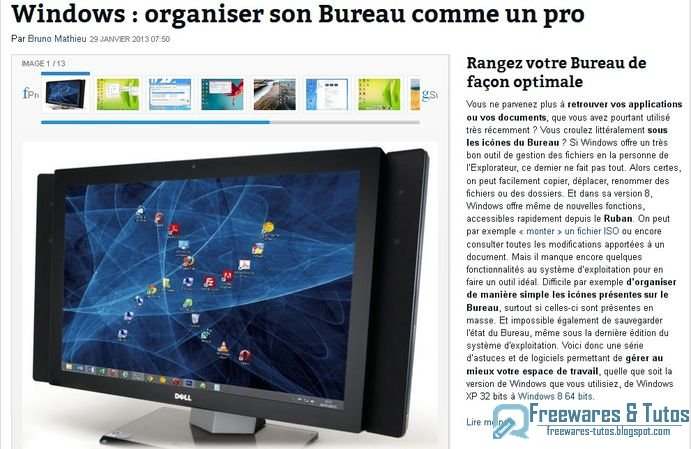 Le site du jour personnaliser et optimiser son bureau windows freewares tutos - Personnaliser son bureau windows 7 ...