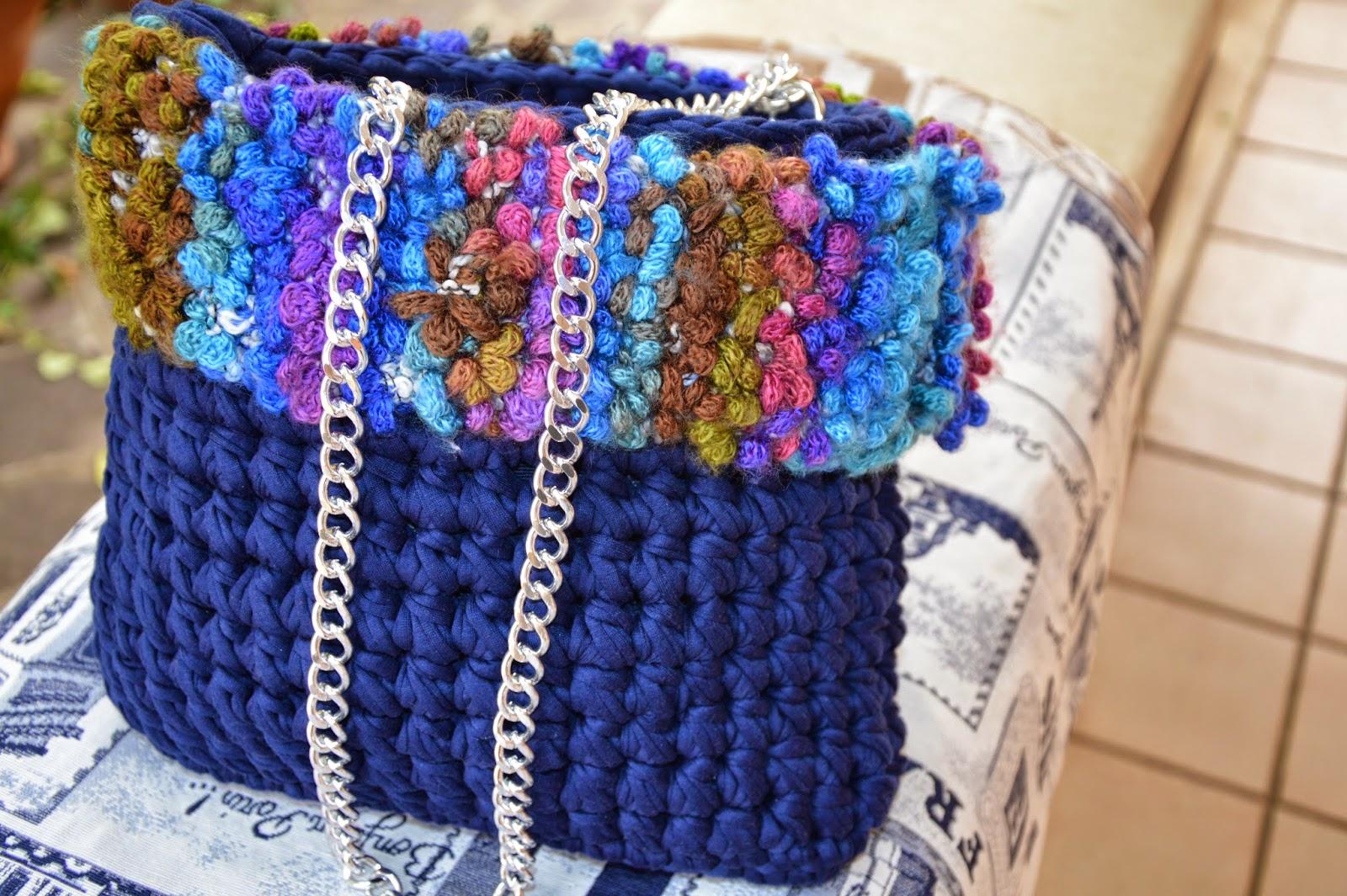 Borsa Caldo cotone blu e bordo lana Bouclé