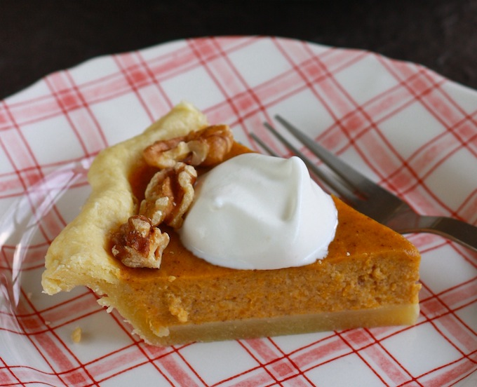 slice of real pumpkin pie topped with sugar-free whipped cream