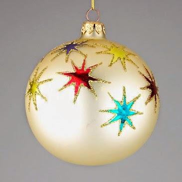 """Stars Confetti"" Hand blown Christmas Glass Ornmament"