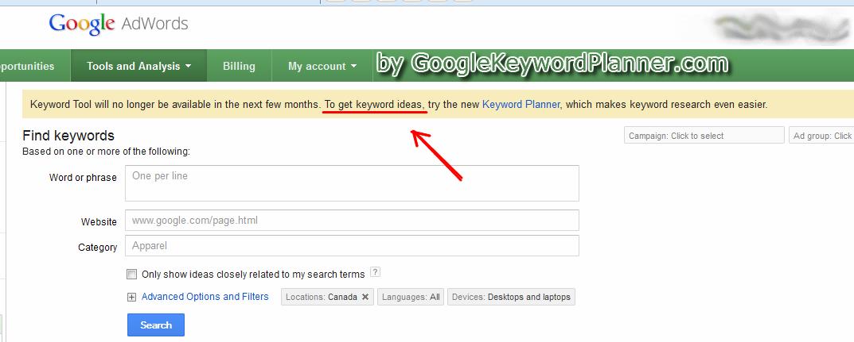 keyword planner tool by google