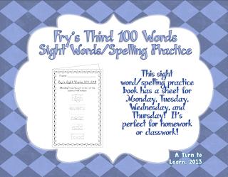 http://www.teacherspayteachers.com/Product/Spelling-Practice-Book-Frys-Third-100-Sight-Words-201-300-757479