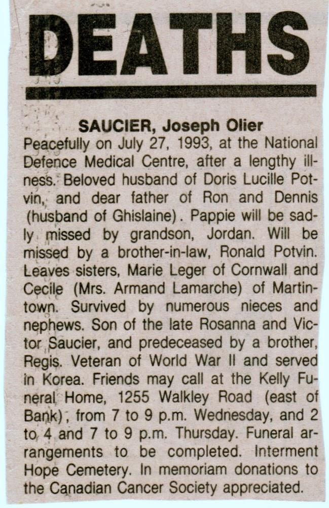 Joseph Saucier obituary