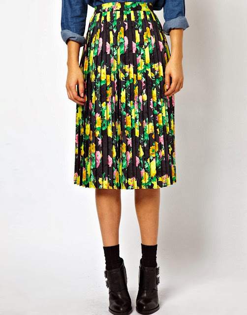 patterned midi skirt