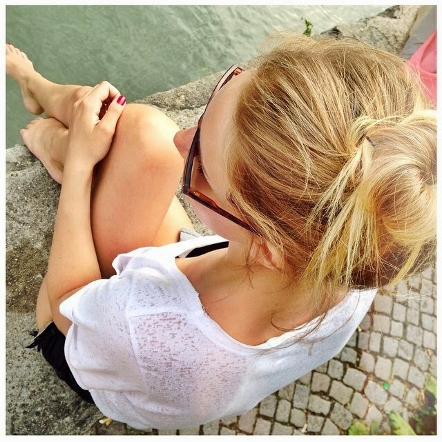 girl, bun, river, sun ,enjoying, sunglasses, summer, blonde