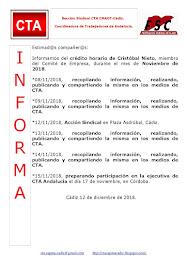 C.T.A. INFORMA CRÉDITO HORARIO CRISTOBAL NIETO, NOVIEMBRE 2018