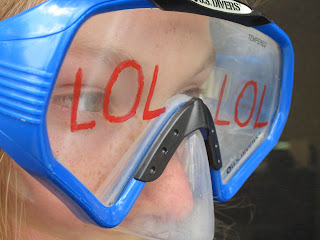 Goggles with LOL written on them