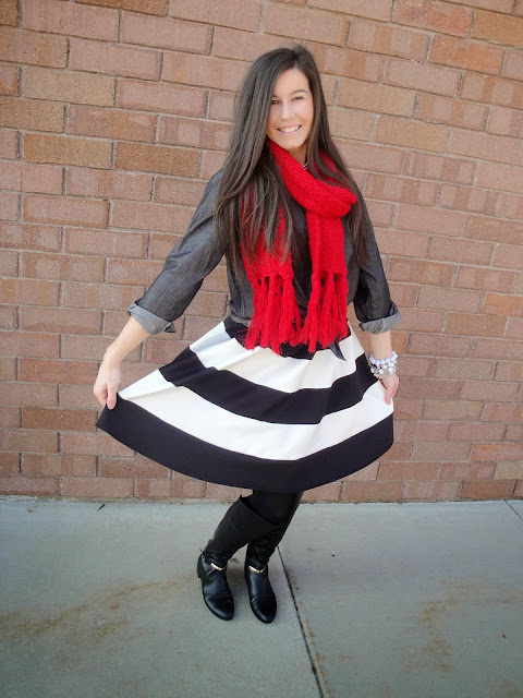 chambray, chambray top, fit and flare, fit and flare skirt, down east, downeast basics, jewerly, red scarf, marc fisher, boots, over the knee boots,