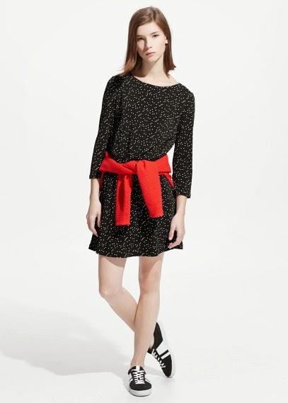 Mango 2015 Elbise Modelleri  siyah desenli elbise, kısa kesim yazlık ve günlük elbise modeli