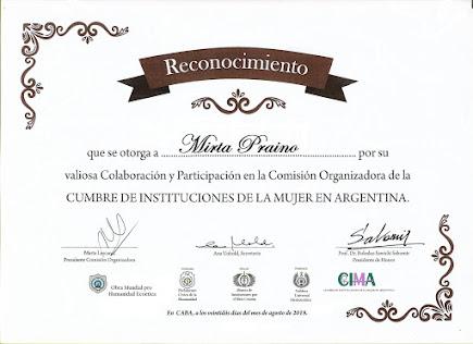 RECONOCIMIENTO x Participacion de la Comision Organizadora de CIMA2018